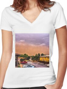 The Orange Wall Women's Fitted V-Neck T-Shirt