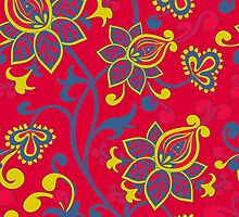 Red Blue Gold Vintage Floral Pattern by Vicky Brago-Mitchell