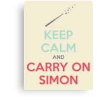Keep Calm and Carry On Simon—Multi-Color Text Canvas Print