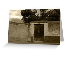 Brown Door in a White and Green Wall Greeting Card