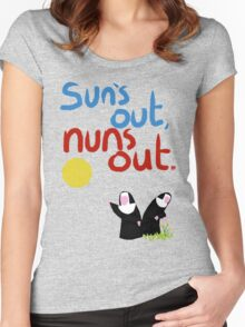 Sun's out, nuns out. Women's Fitted Scoop T-Shirt