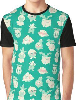Grass Pokemon Pattern Graphic T-Shirt