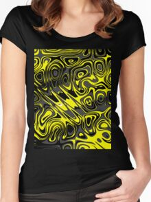 Swirls and Spots - Yellow Women's Fitted Scoop T-Shirt