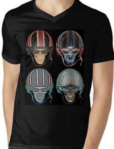 Demon Skull Biker Helmet glasses on Mens V-Neck T-Shirt