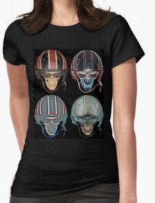 Demon Skull Biker Helmet glasses on Womens Fitted T-Shirt