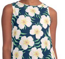 Plumeria design. Elegant floral print Contrast Tank