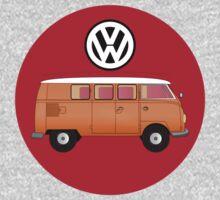 VW Volkswagen Camper Van T-Shirt, Kombi Transporter Sticker One Piece - Short Sleeve