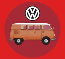 VW Volkswagen Camper Van T-Shirt, Kombi Transporter Sticker Baby Tee