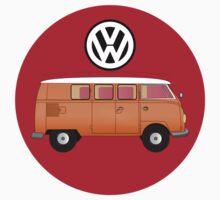 VW Volkswagen Camper Van T-Shirt, Kombi Transporter Sticker Kids Tee
