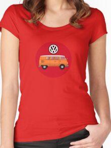 VW Volkswagen Camper Van T-Shirt, Kombi Transporter Sticker Women's Fitted Scoop T-Shirt