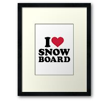 I love Snowboard Framed Print