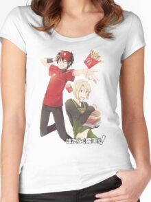 devil is a part timer mcronalds outfit Women's Fitted Scoop T-Shirt