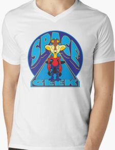 SPACE GEEK Mens V-Neck T-Shirt