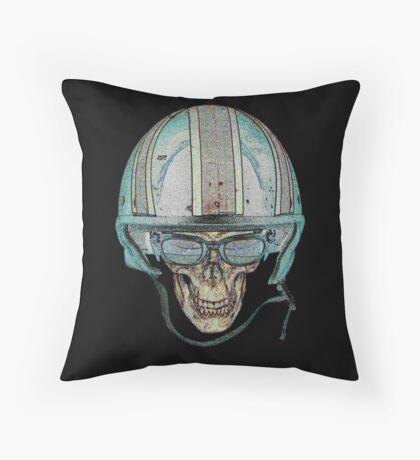 Skull Undead Demon Biker Helmet Throw Pillow
