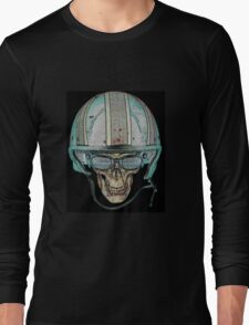 Skull Undead Demon Biker Helmet Long Sleeve T-Shirt
