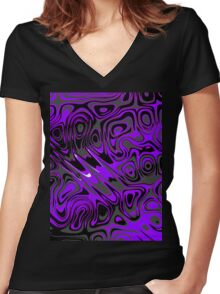 Swirls and Spots - Purple  Women's Fitted V-Neck T-Shirt
