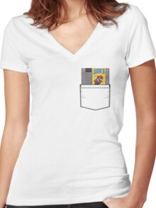 Mario 3 - NES Pocket Series Women's Fitted V-Neck T-Shirt