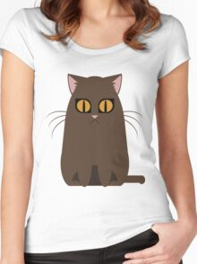 Brown Graphic Kitty Women's Fitted Scoop T-Shirt