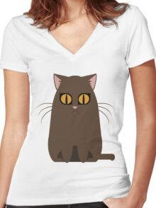 Brown Graphic Kitty Women's Fitted V-Neck T-Shirt