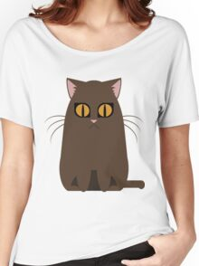 Brown Graphic Kitty Women's Relaxed Fit T-Shirt