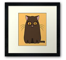 Brown Graphic Kitty Framed Print