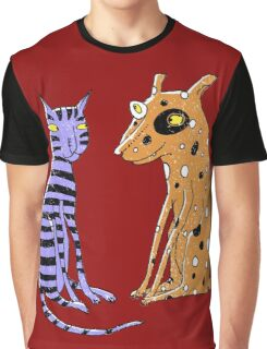Opposites Attract Cat and Dog Graphic T-Shirt