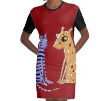 Opposites Attract Cat and Dog Graphic T-Shirt Dress