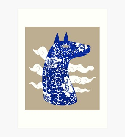 The Water Horse in Blue and White Art Print