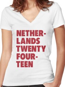 Team Netherlands for the World Cup 2014 Women's Fitted V-Neck T-Shirt