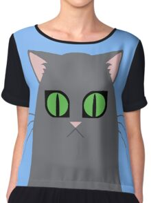 Gray Graphic Kitty Chiffon Top