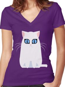 White Graphic Kitty Women's Fitted V-Neck T-Shirt