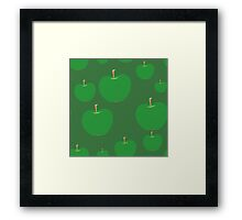 vector seamless pattern with green apples Framed Print