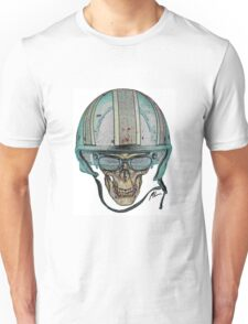 Undead Biker Skull Zombie with Glasses Unisex T-Shirt
