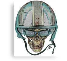 Undead Biker Skull Zombie with Glasses Canvas Print