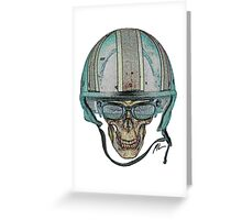 Undead Biker Skull Zombie with Glasses Greeting Card