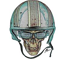 Undead Biker Skull Zombie with Glasses Photographic Print