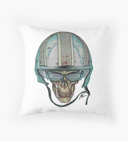 Undead Biker Skull Zombie with Glasses Throw Pillow