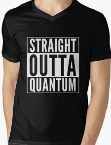 Straight Outta Quantum (white on black) Mens V-Neck T-Shirt
