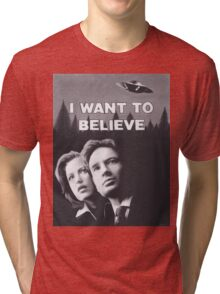 Original Charcoal Drawing of X Files I Want to Believe Tri-blend T-Shirt
