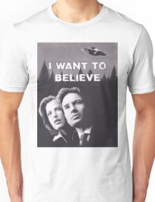 Original Charcoal Drawing of X Files I Want to Believe Unisex T-Shirt