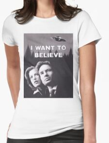 Original Charcoal Drawing of X Files I Want to Believe Womens Fitted T-Shirt