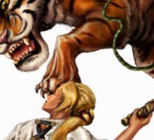 Comic Hero Malarky Jane Fights Attacking Tiger! Sticker