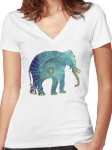 Elephant blue maps Women's Fitted V-Neck T-Shirt
