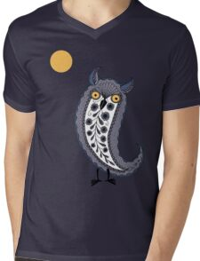 Paisley Owl Mens V-Neck T-Shirt