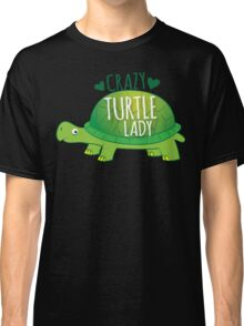 Crazy Turtle Lady with green sea turtle Classic T-Shirt