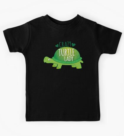 Crazy Turtle Lady with green sea turtle Kids Tee