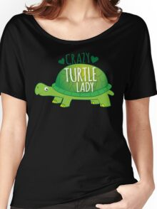 Crazy Turtle Lady with green sea turtle Women's Relaxed Fit T-Shirt