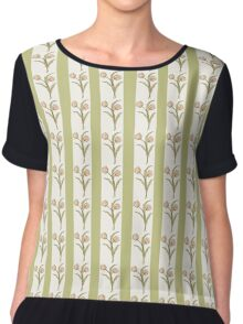 Green Stripes and Tulips Chiffon Top