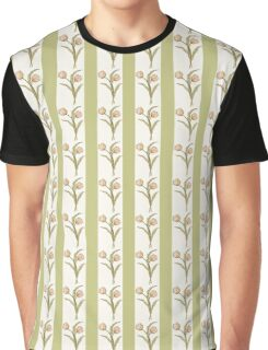 Green Stripes and Tulips Graphic T-Shirt