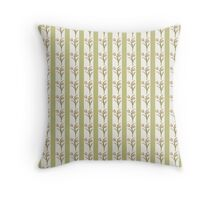 Green Stripes and Tulips Throw Pillow